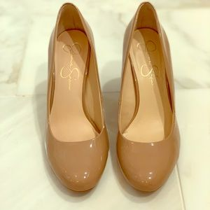 Nude Patent Leather Wedges